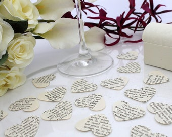 Paper heart wedding confetti- 200 vintage story book die cut punched hearts 3.5cm by 3cm- Great romantic Valentines table decoration