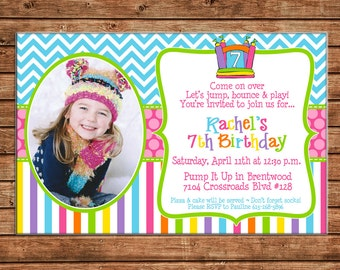 Girl Bounce House Bouncy Inflatable Stripe Chevron Polka Dot Birthday Party Shower with PHOTO Invitation - DIGITAL FILE