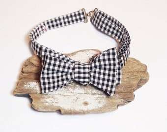 Mens Bow Tie - Self Tie - black & white check - groomsmen tie - personalized - embroidered - monogrammed