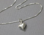 Tiny Heart Necklace, Sterling Silver Heart Pendant On Sterling Silver Necklace Chain, Silver Heart Necklace, Gift for Her, Girlfriend Gift