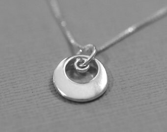 Sterling Silver Circle Necklace Sterling Silver Necklace Layering Necklace Casual Necklace, Everyday Necklace, Gift for Her, Girlfriend Gift