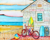 BEACH ART PRINT, Canvas Beach House,beach decor, summer gift, mixed media painting, coastal decor, coastal art,sunset, sunrise, All Sizes