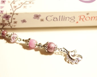 unicorn bookmark, horse, riding, purple, lilac, stardust beads, miracle beads, beaded metal bookmark, Tibetan silver