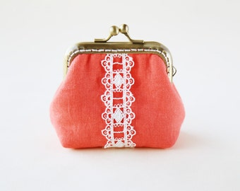 red linen and lace little coin Purse