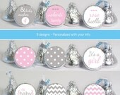 baby shower favors stickers for mini candy (No.K79) girl polka dots chevron pink gray it's a girl oh baby girl