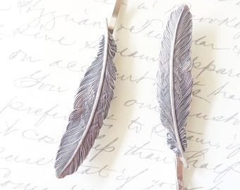 Ox Sterling Silver Feather Hair Pins - Feather Bobby Pin - Woodland Feather Hair Pin Set - Bridal Hair Accessory