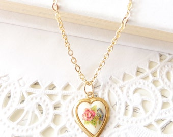 Vintage Pink Rose Limoges Heart Necklace - Heart Shaped Necklace - Vintage Flower Cameo - Valentines Day Gift