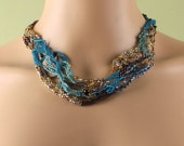 freeform peyote stitch necklace blue brown tan