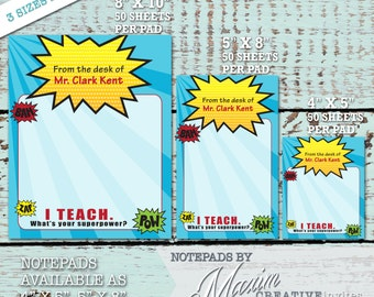 Teacher Notepad / Teacher Personalized Stationery / Personalized Stationery / Christmas Gift / I Teach. What's your superpower?