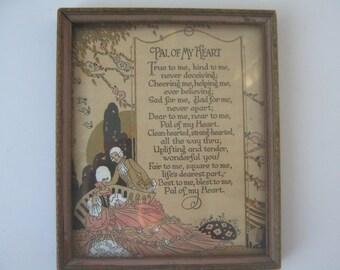Vintage Picture Poem Friend Victorian Romantic Style