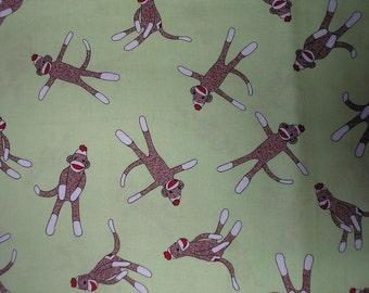 Sale~Lime  Tossed Sock Monkey Fabric   1/2 yard piece