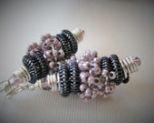 Reserved for Carla--Venus in Motion Gunmetal and Lilac--WireWrapped Funky Earrings