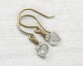 Mini Aquamarine Dangle Earrings in solid 14K gold - Carved leaf earrings