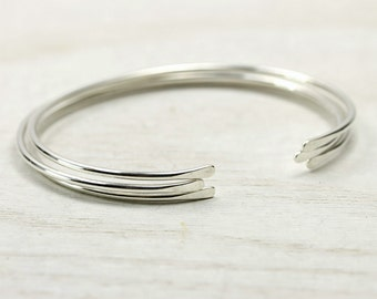 Three Sterling Silver Smooth Cuff Bracelets, Simple Silver Cuffs, Custom Sized Stacking Bracelets