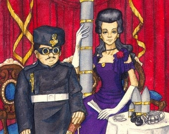 "Anime fantasy art by B. Wilde angel ""Partners in Crime"" watercolor MATTED"