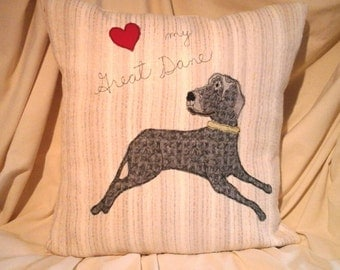 On Sale Great Dane Dog Designer Pillow Cover Thread Sketching