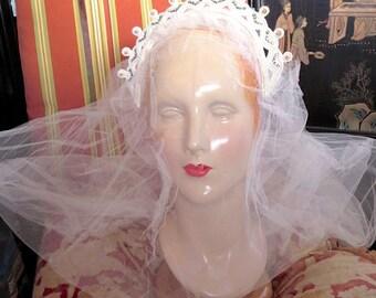 1930s Wedding Tiara Beaded Pearls Rhinestone Crown For Veil As Is Tulle