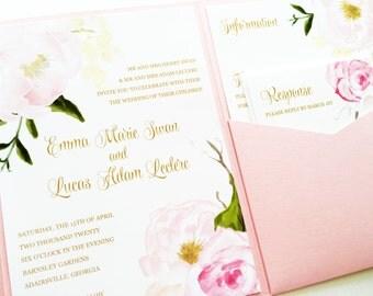 Wedding Invitation - Romantic Rose Pocketfold Wedding Invitation - Wedding Invite - Rose Quartz Pocket Fold Wedding Invitation