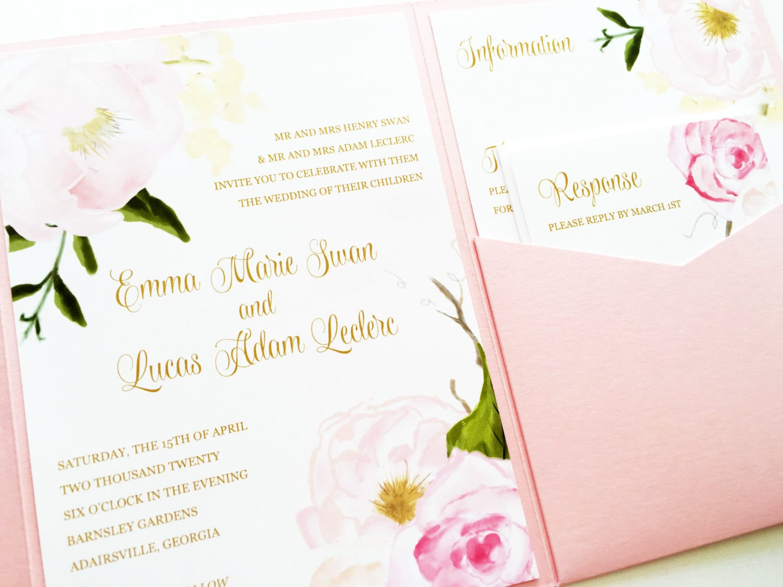 Wedding Invitation Pocket Fold: Wedding Invitation Romantic Rose Pocketfold Wedding