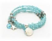 Blue Topaz Bracelet - Turquoise Wrap Bracelet for Women - Seashell Bracelet - Gemstone Bracelet - Mothers Day Gift, Gift Ideas for Her
