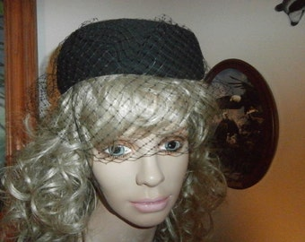 Vintage Hat Womens ~ George W Bollman & Co. Black  with Faux Pearls/Layered Ribbons  Church Doeskin Felt Hat Dress