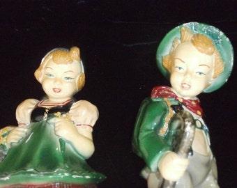 Devon  Dutch Girl & Boy Figurines Chalkware