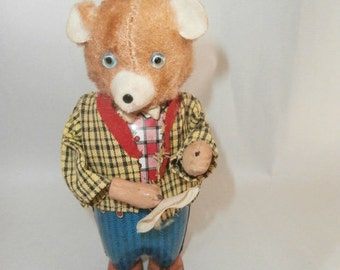 Wind up Toy~  Bruno Bear -Vintage  50's Toy- Made In Japan - Walking up right- Standing / Working Bear