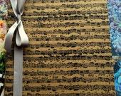 Large Music Notes Notebook Cahier-Kraft Moleskine-Choose Your Ribbon