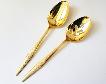 Vintage 1960s JH Golden Bouquet Serving Spoon and Slotted Serving Spoon Hostess Pieces Like-New