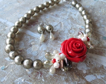 Asymmetric Red Rose with Taupe Glass Beads and Crystals Necklace and Earrings