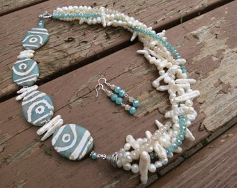 Asymmetric Tribal Beads, Pearls and Crystals Necklace and Earrings