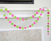 Lime, Hot Pink Paper Garland, Lime Pink Birthday Party Decor, Girls Birthday Party Decor, Strawberry Theme Shower, Summer Party,