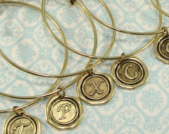 6 Bronze Bangles with Wax Seal INITIAL Charms YOU CHOOSE - Expandable Bracelet Stocking Stuffer Bridesmaid Mother's Day Valentine's Day Bulk