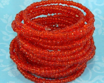 6 RED Beaded Bangle Bracelets Stretch Memory Wire Bracelet Set Stocking Stuffer Party Favor Bridesmaid Gift Valentine's Day Bulk Bangles