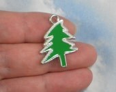 5 Enamel Green Fir Tree Charms Christmas Holiday Silver Platinum Tone (P1749)