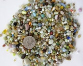 "Beach Decor Beach Pebbles - Tiny Glass Rocks - Glass Pebbles - Terrarium Rocks - Terrarium Pebbles - Blue or Brown 3x4"" Bag - #BLPEB, #BRPEB"
