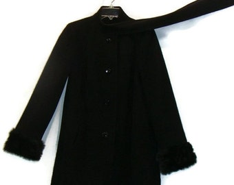 Vintage Black Wool Coat With Faux Fur Cuff Black Wool Coat Women Black Wool Coats For Women Black Jackets For Women Black Coats For Women