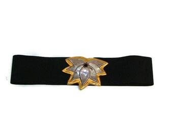 Vintage Ceramic Flower Buckle Stretch Belt Wide Black Stretch Belt Black Elasticated Belt Wide Black Elastic Belt Ladies Elasticated Belts