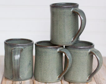 Set of 4 Ceramic Handmade Mugs -- Gray hand thrown coffee tea mug - Gray Handmade Ceramic Stoneware mugs