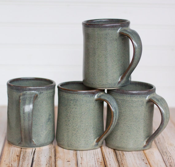 Set of 4 -16 oz Handmade Ceramic Mugs -- Slate Grey -- Hand crafted pottery for tea, cocoa or coffee