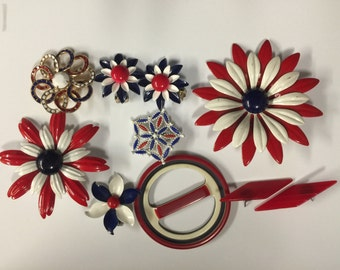 Old Glory Red White & Blue Patriotic Vintage Jewelry Lot Enamel Flowers brooches, earrings
