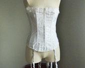 White lace-up corset. Fredericks of Hollywood. Garter belt