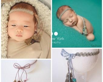Baby BOHO Tieback Newborn Headband Photo Prop Shower Gift Halo Photography Newborn Organic Tassel Girl Headwrap Toddler Adult Going Home