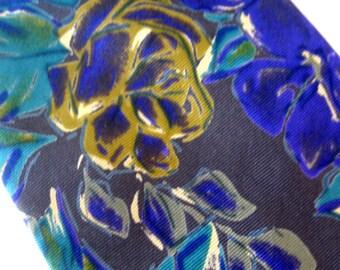 Vintage Silk Necktie Gian Franco Ferretti  Necktie Designer Tie Floral Impressionist Rose Gold Aqua Blue Gray