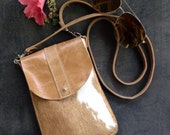 DAKOTA Cow Hide Crossbody Bag - Caramel and White Hair on Hide - Aged Rattan Leather - Leather Messenger Bag - Boho - Bohemian