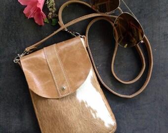 DAKOTA Cow Hide Crossbody Bag - Caramel and White Hair on Hide - Aged Rattan Leather - Leather Messenger Bag - Boho - Bohemian
