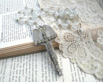 pendant cross key assemblage necklace rhinestone religious catholic