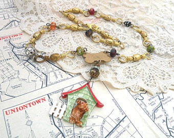 dog assemblage necklace animal upcycle pound puppy pup