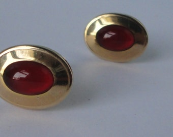 ANSON Gold tone with Ruby Red Cabochon  Cuff Links.