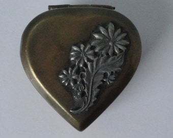 Vintage Heart shaped Brass and Pewter  Metal box. Trinket box.
